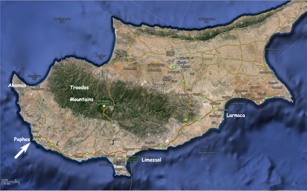 Maps of Cyprus showing Paphos Paphos and Larnaca Airports Nicosia