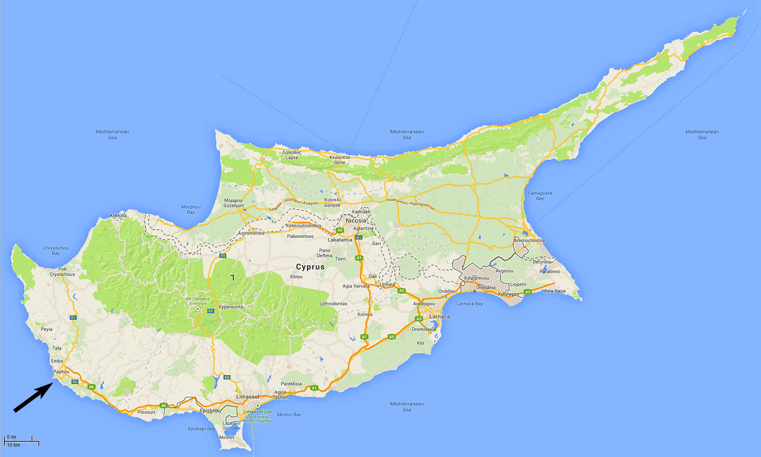 Maps of cyprus showing paphos paphos and larnaca airports nicosia general map and satellite map of cyprus showing the position of paphos gumiabroncs Gallery