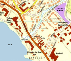 Limnaria Villas location map showing Limnaria Gardens, Alexander the Great Hotel, shopping and the sea